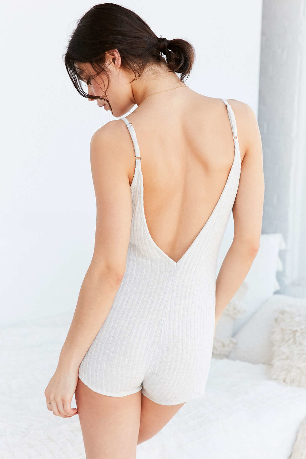 1fb26333720 Lyst - Out From Under Tied Up Cozy Romper in White