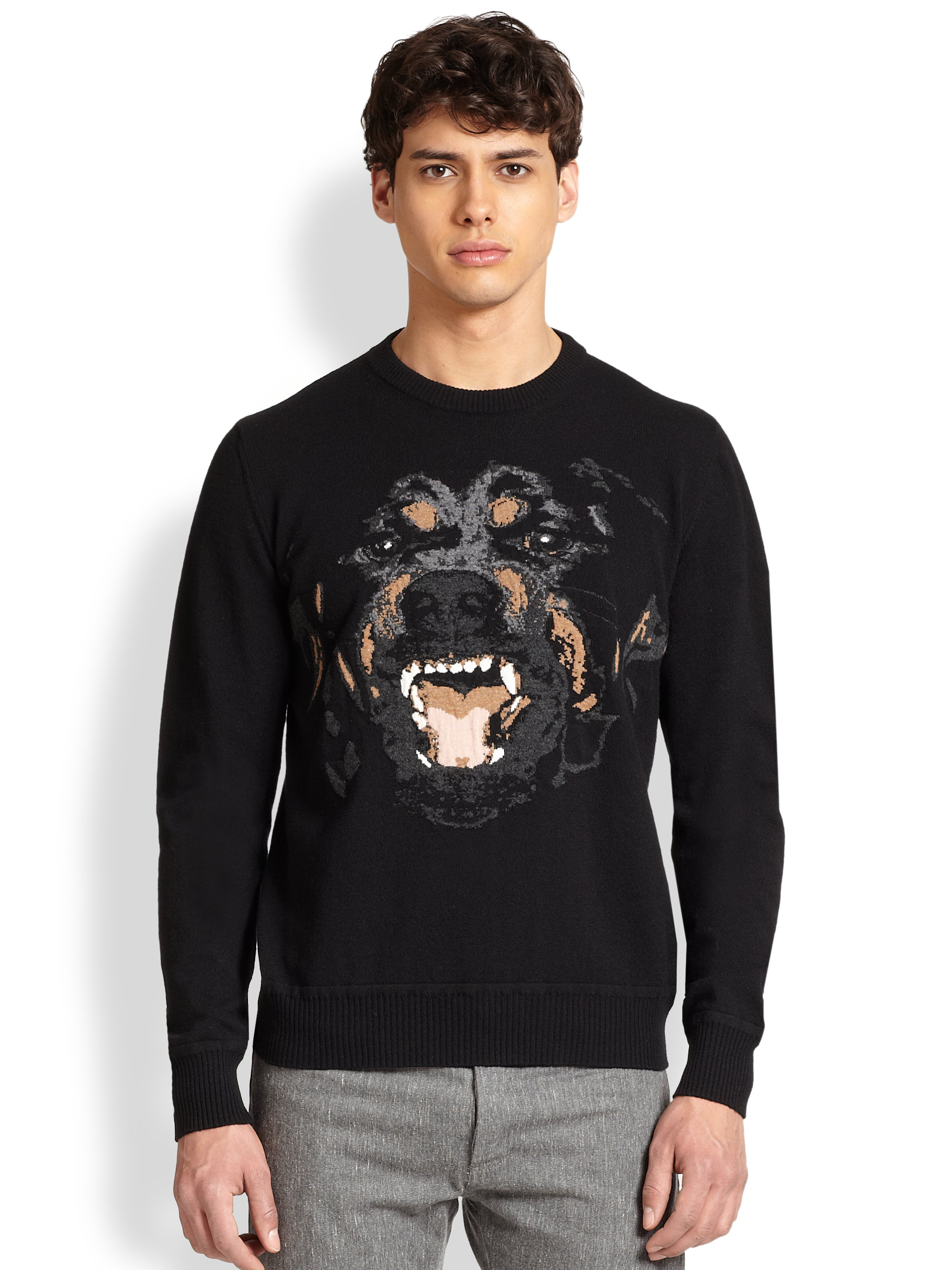 givenchy rottweiler intarsia knit sweater in black for men lyst. Black Bedroom Furniture Sets. Home Design Ideas
