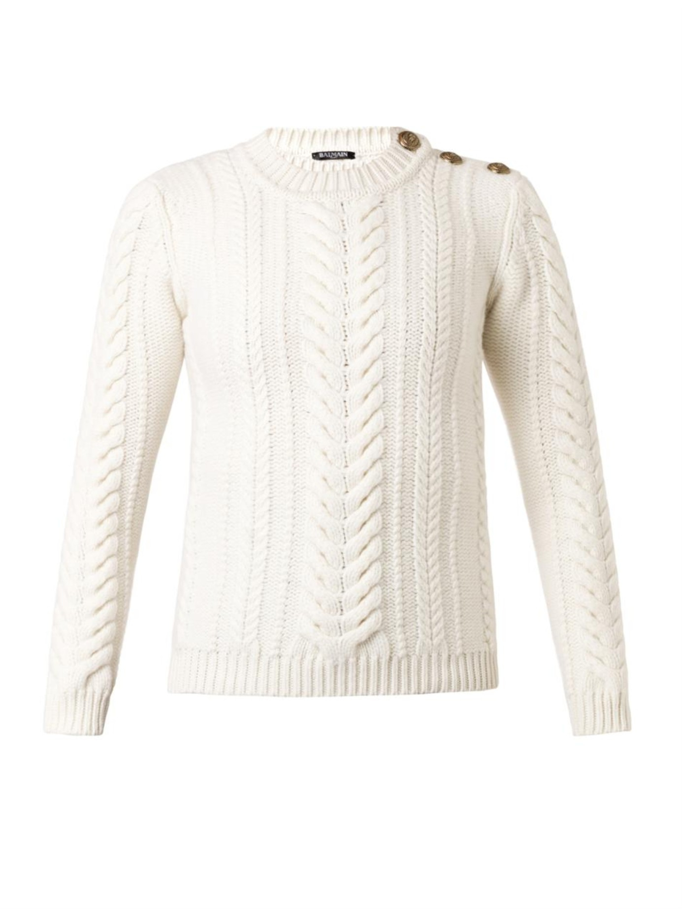 Lyst Balmain Cable Knit Wool Sweater In Natural