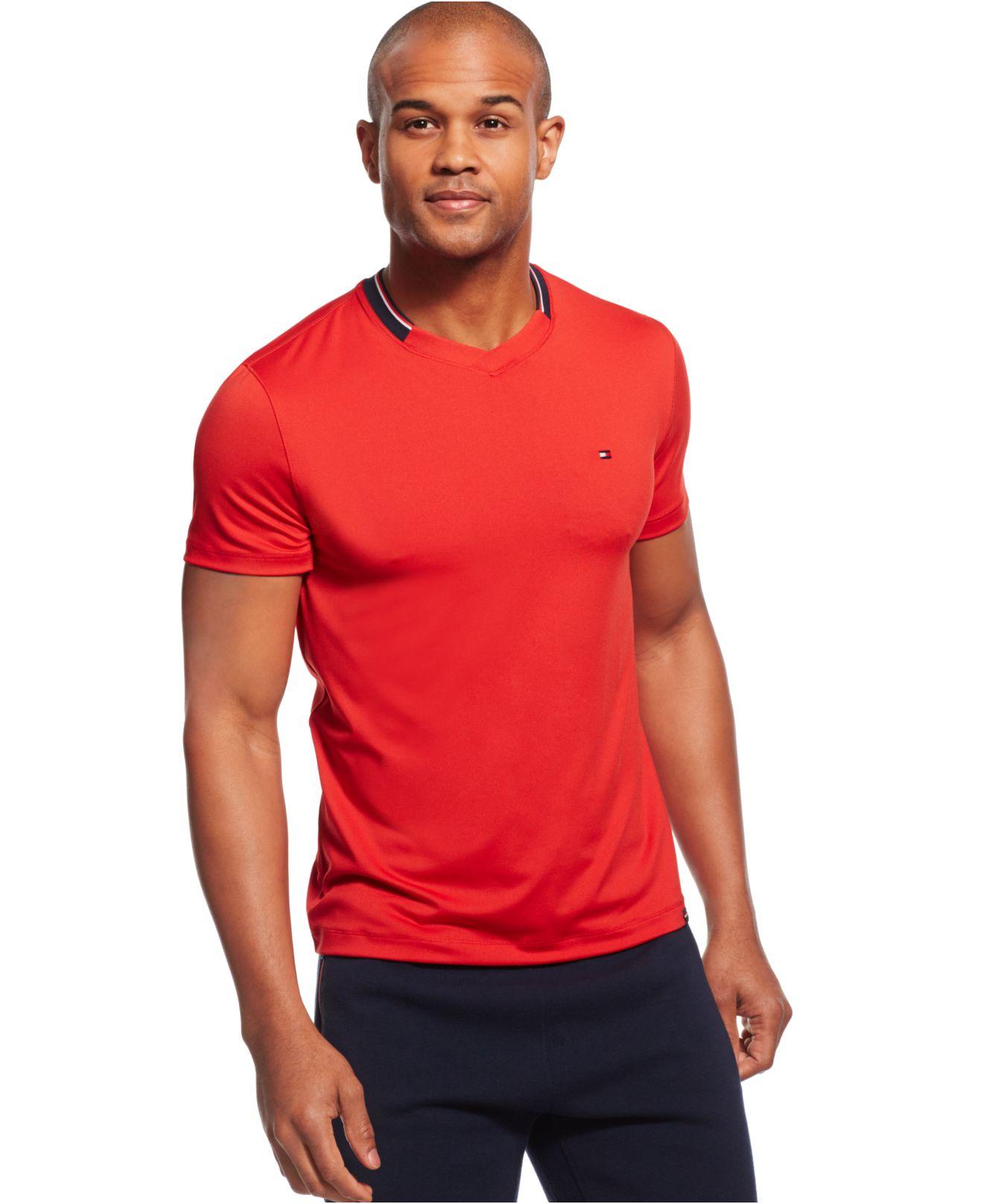 tommy hilfiger collar stripe v neck t shirt in red for men. Black Bedroom Furniture Sets. Home Design Ideas