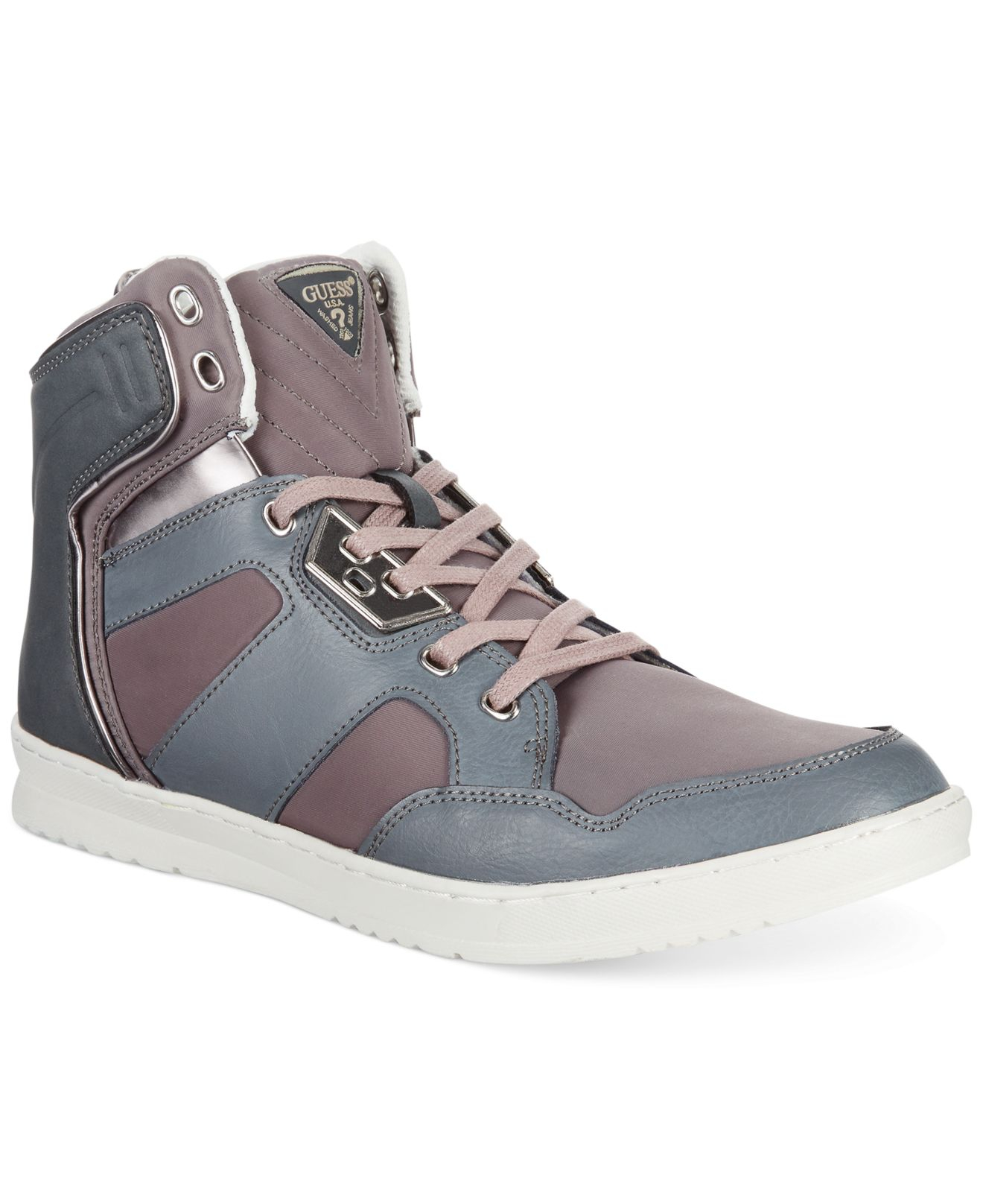 Guess Tucker High-top Sneakers in Gray for Men | Lyst
