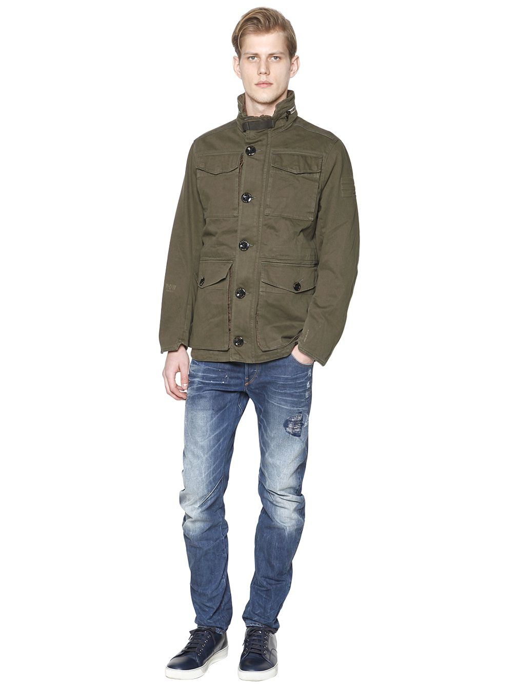 Lyst G Star Raw Cotton Canvas Field Jacket In Green For Men