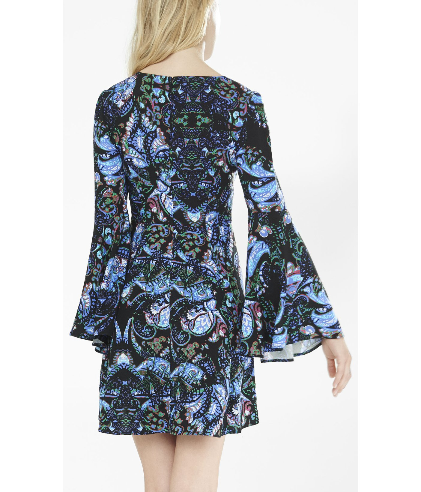 Express Paisley Bell Sleeve Fit And Flare Dress In Blue Lyst