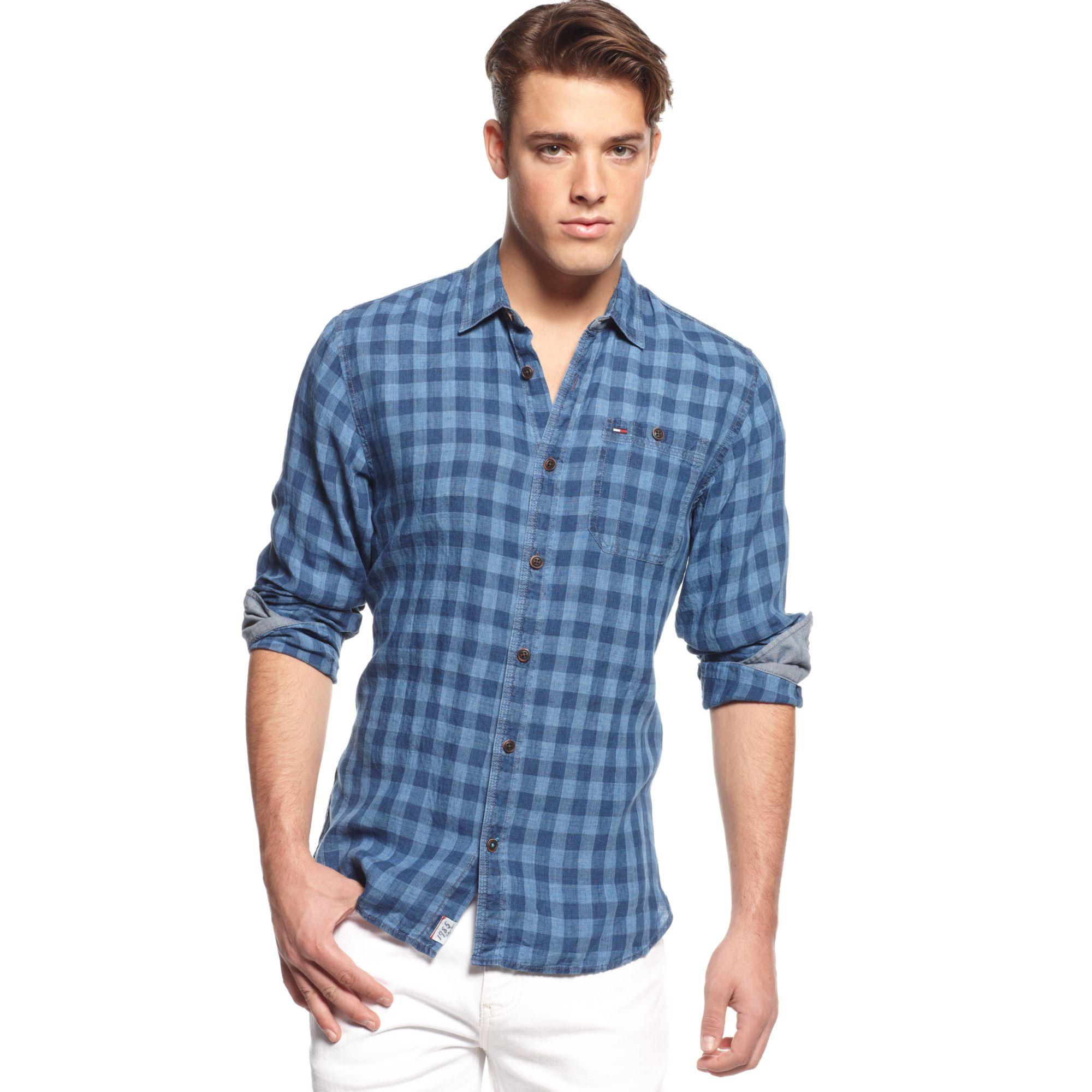 tommy hilfiger checkered linen shirt hilfiger denim. Black Bedroom Furniture Sets. Home Design Ideas
