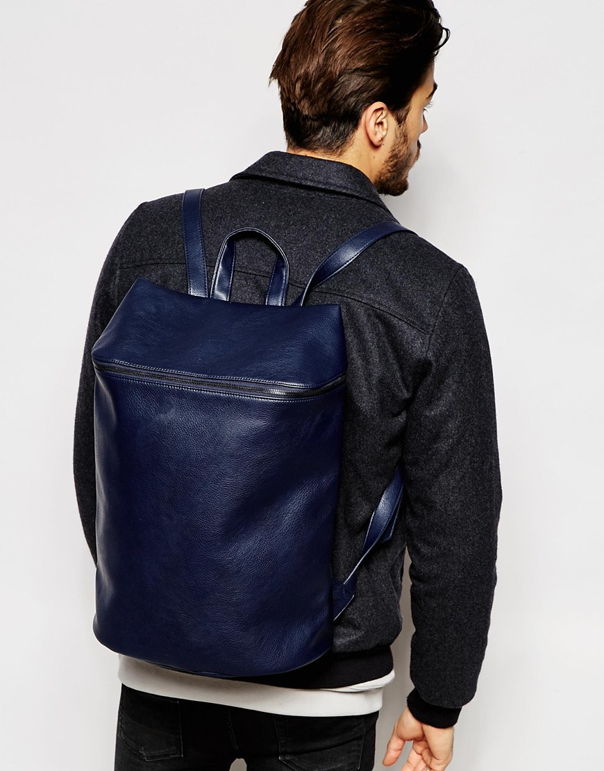 Lyst Asos Smart Backpack In Navy Faux Leather With Zip