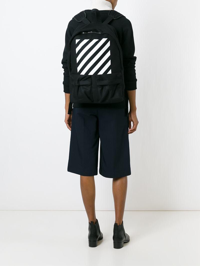 Off-White c/o Virgil Abloh Striped Backpack in Black