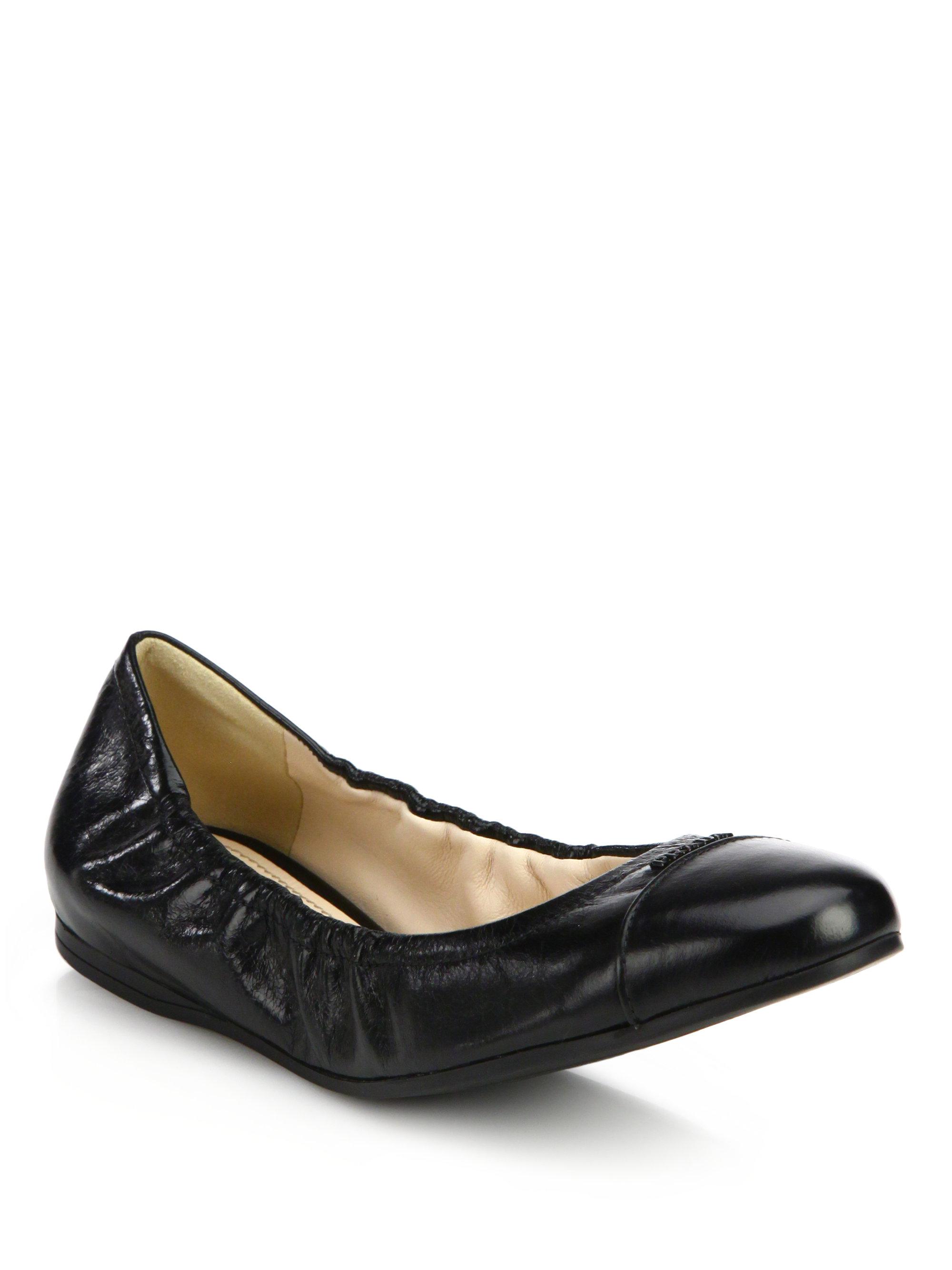 Prada Leather Cap-Toe Ballet Flats in