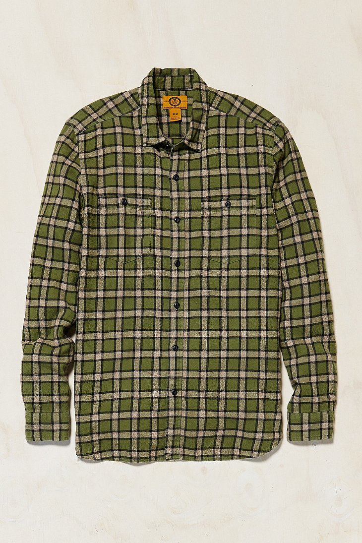 Stapleford Chico Plaid Flannel Button Down Shirt In Green