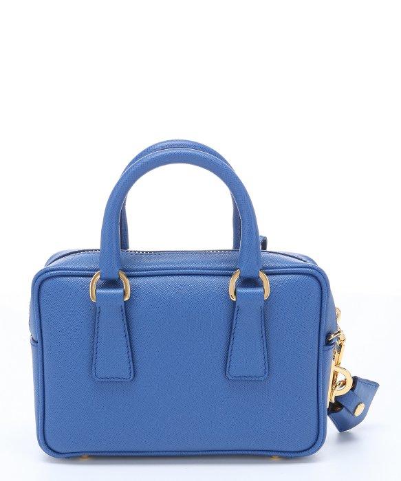 72b984eb121f Prada Blue Saffiano Leather Mini Convertible Top Handle Bag in .