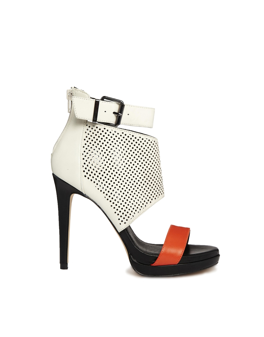 Aldo Perforated Buckle Heeled Sandals In Ice White Lyst