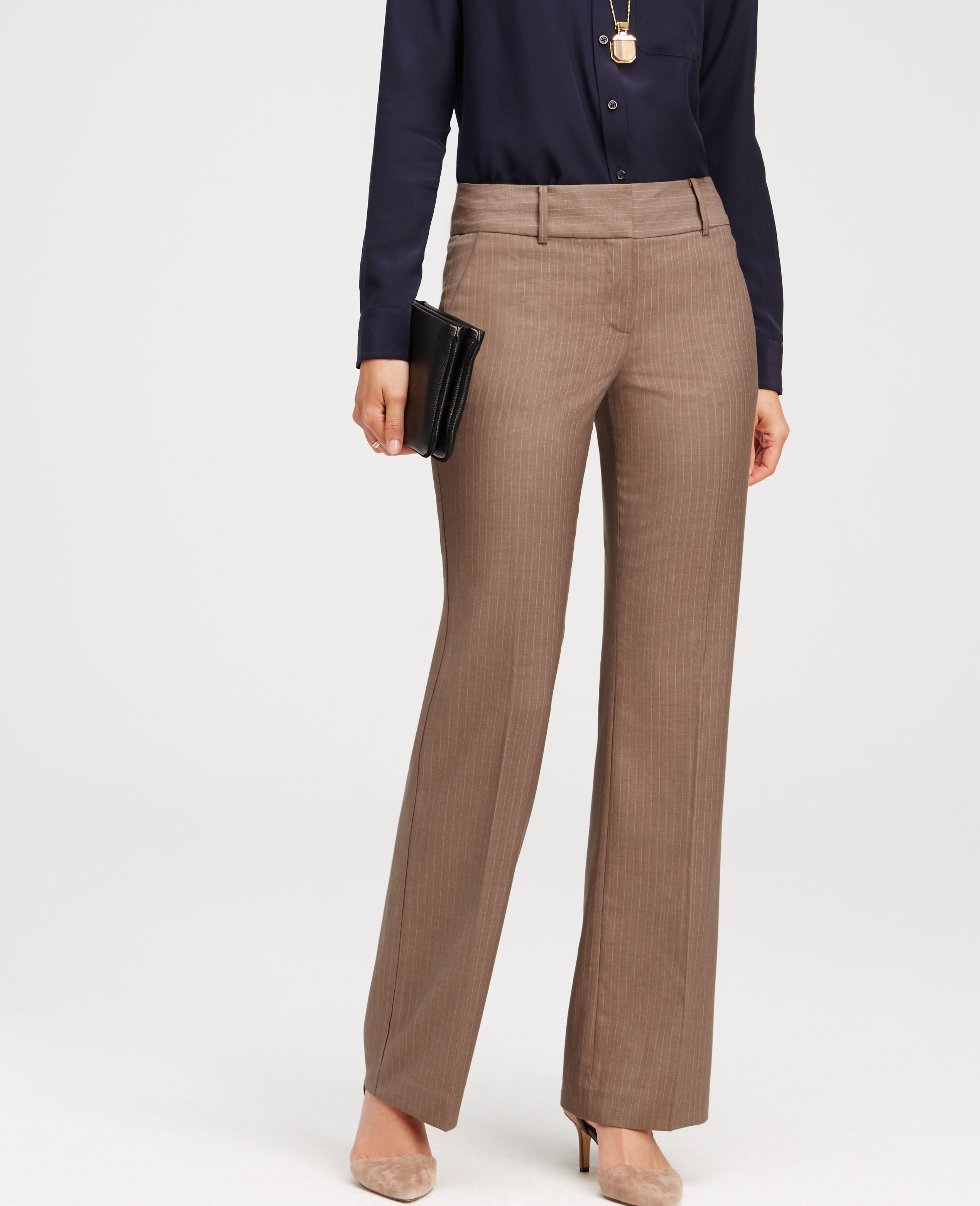 Ann Taylor Synthetic Petite Kate Pinstripe Trousers In