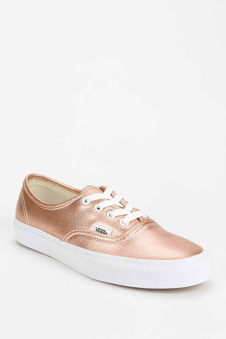 hot sale online a3d26 a9420 Vans Pink Authentic Metallic Leather Women'S Low-Top Sneaker