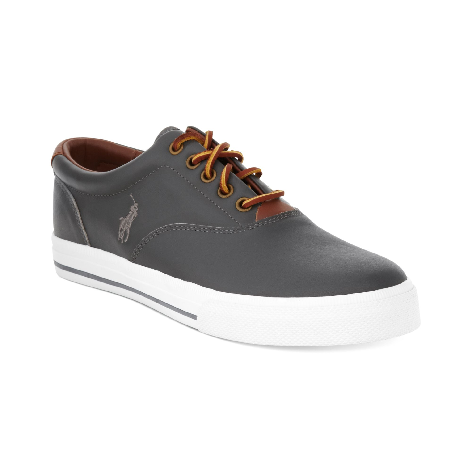 polo ralph lauren vaughn leather sneakers in gray for men grey. Black Bedroom Furniture Sets. Home Design Ideas