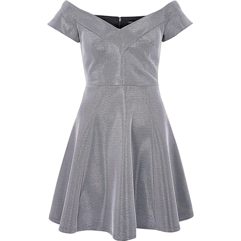 79d5e22066cb River Island Silver Metallic Bardot Skater Dress in Gray - Lyst