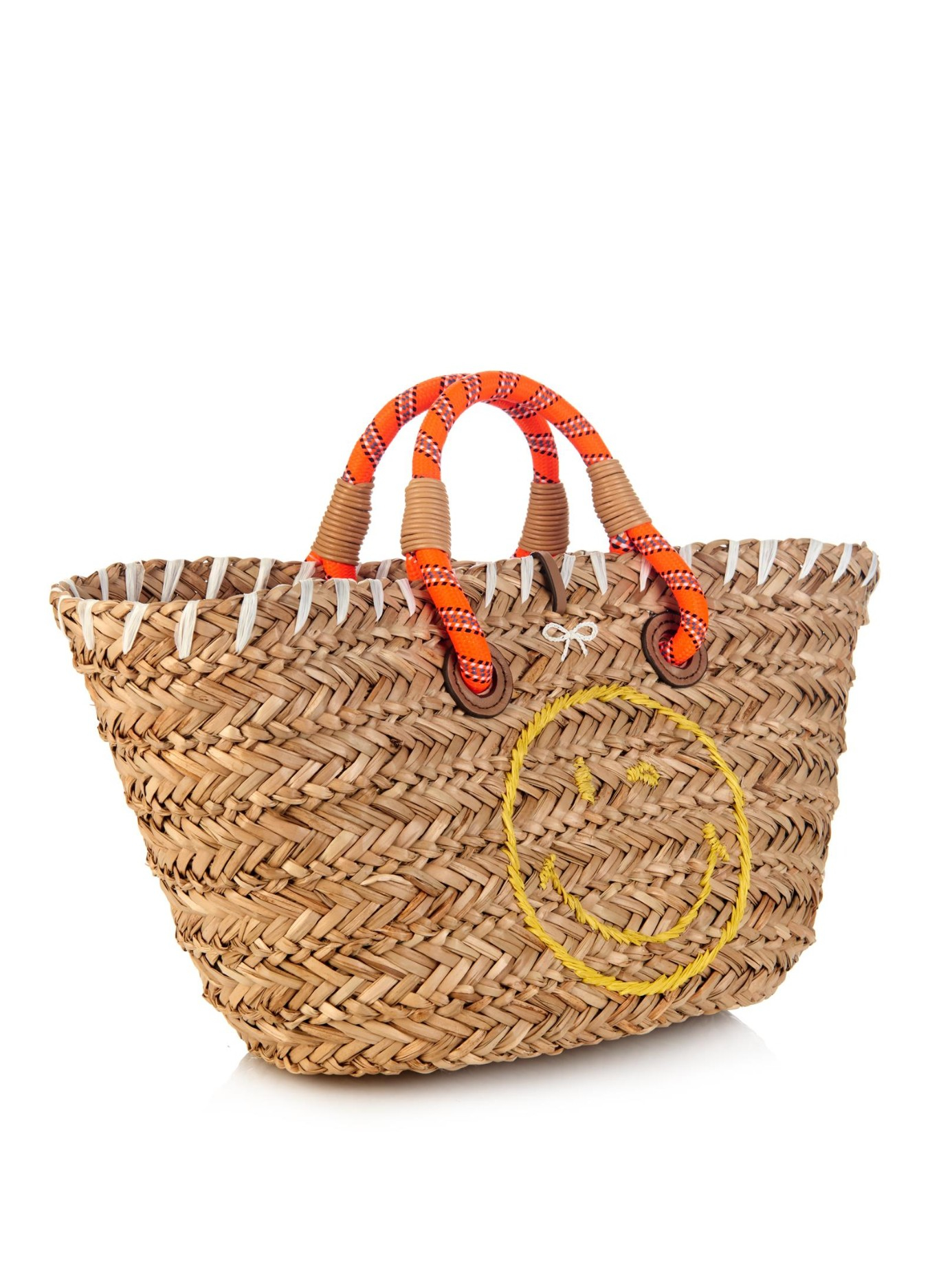 Anya hindmarch Wink Small Straw Beach Bag in Brown | Lyst