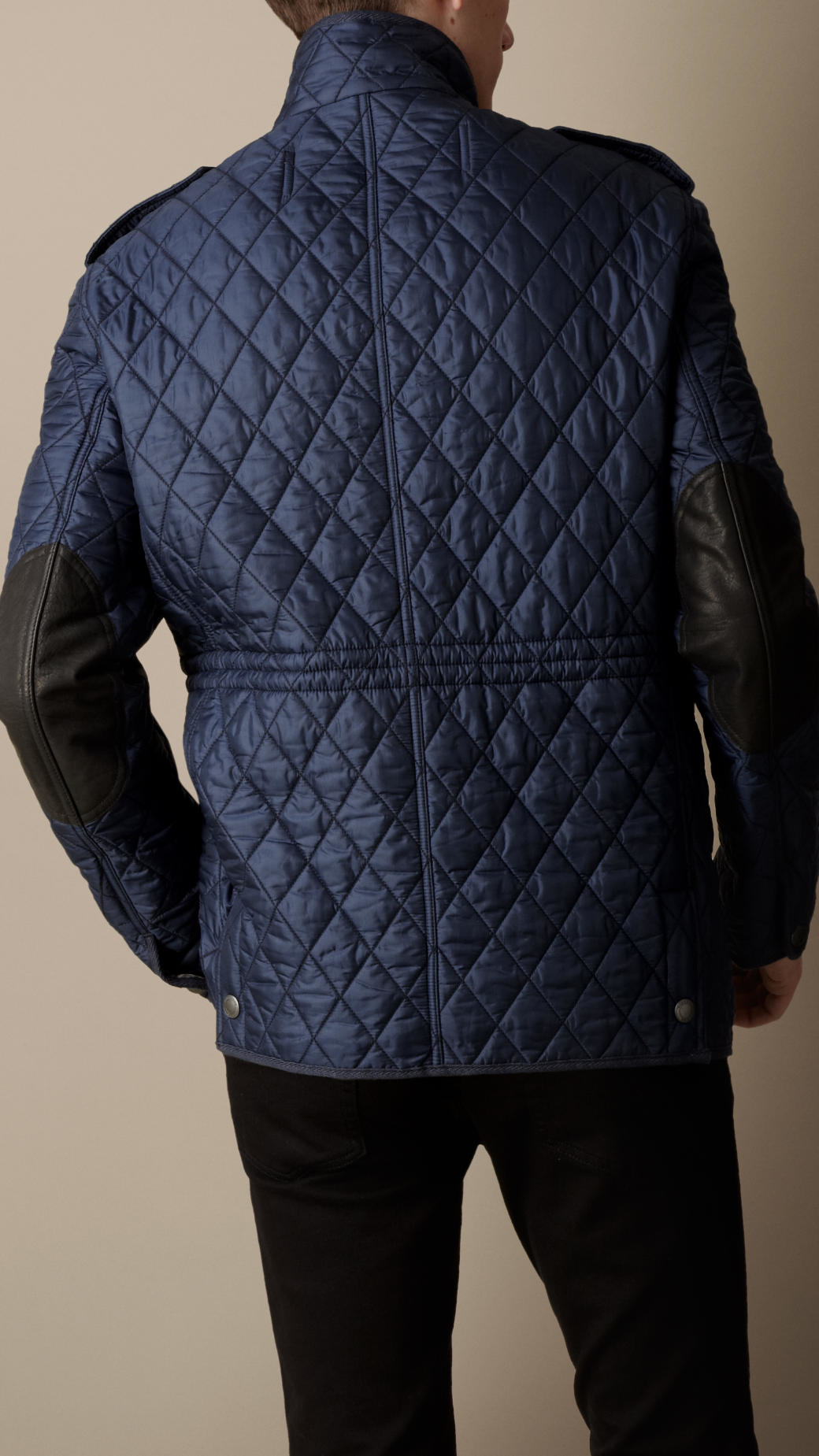 Burberry Diamond Quilted Field Jacket In Navy Blue For Men Lyst