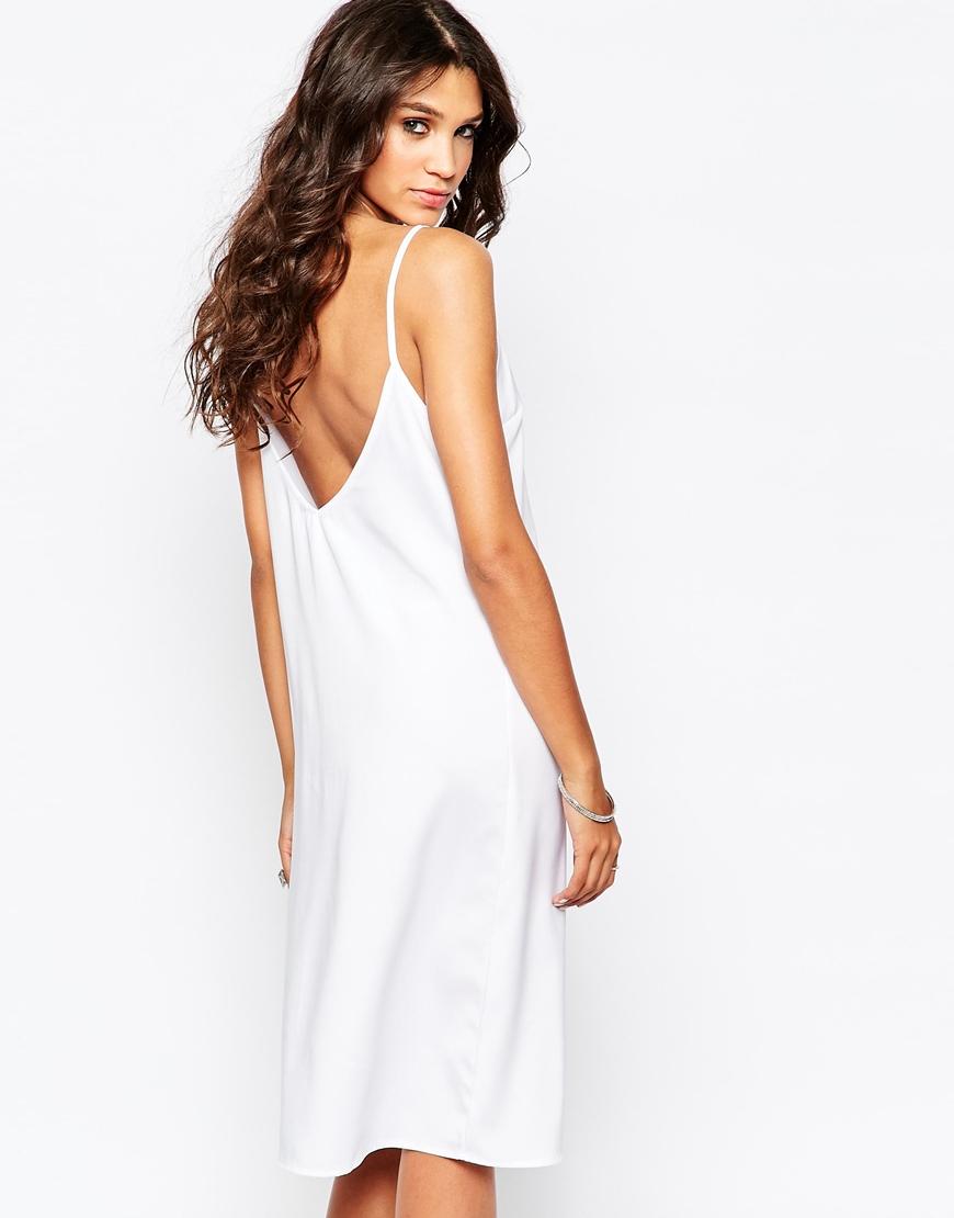 Lyst Aka Low Back Cami Midi Dress White In White