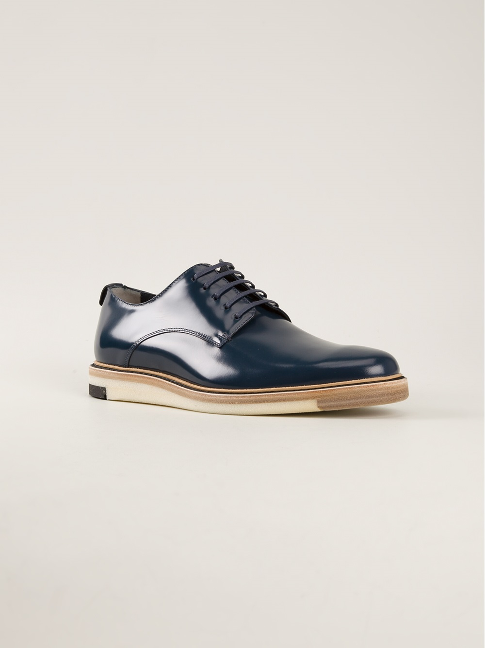 Blue And White Derby Shoes