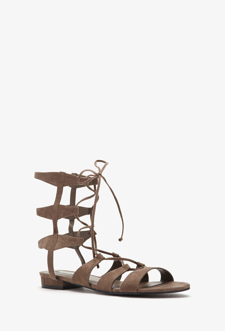9b19695d0f93 Lyst - Forever 21 Faux Suede Gladiator Sandals in Gray