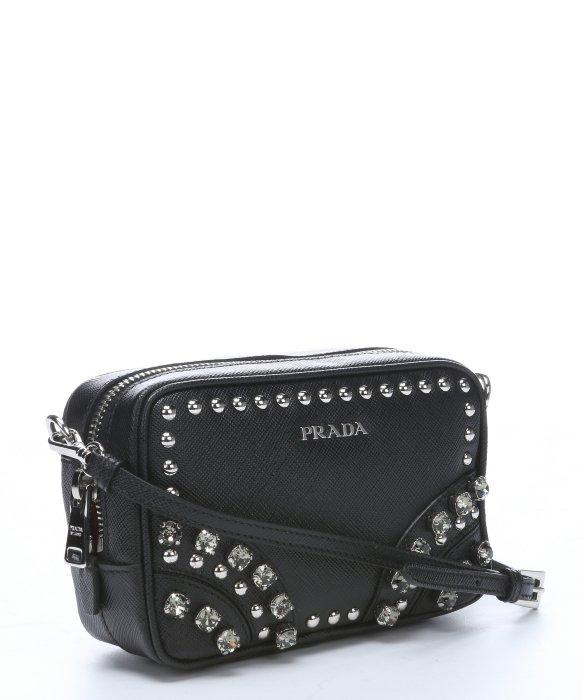 replica prada wallet - Prada Black Leather Embellished Mini Convertible Crossbody Bag in ...