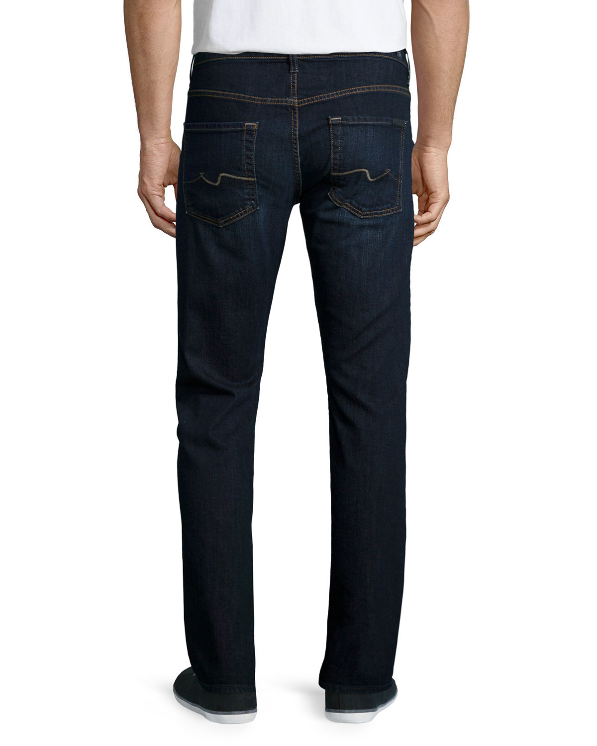 7 for all mankind luxe performance park straight leg jeans in blue for men indigo lyst. Black Bedroom Furniture Sets. Home Design Ideas