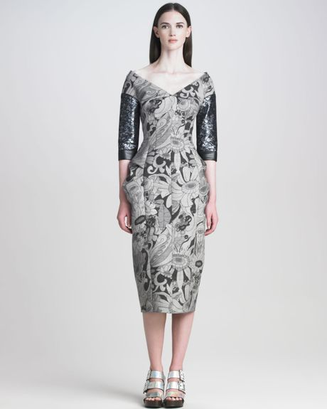 Marc Jacobs Womens Cartoon Flower Printed Dress in Gray