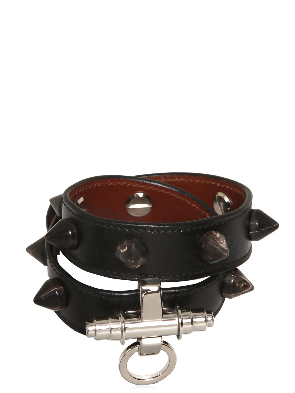 Givenchy 2 Rows Obsedia Studded Leather With Horn in Black