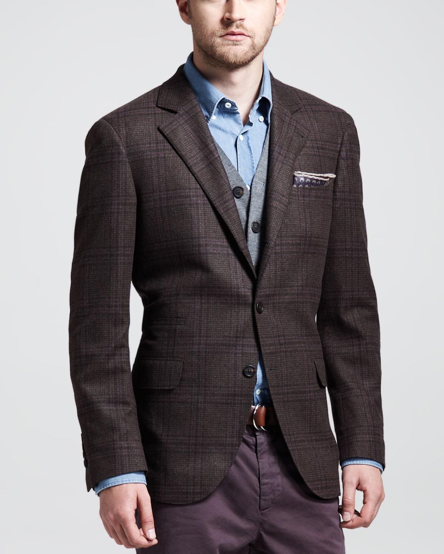 Brunello Cucinelli Glen Plaid Sport Coat Brown For Men Lyst