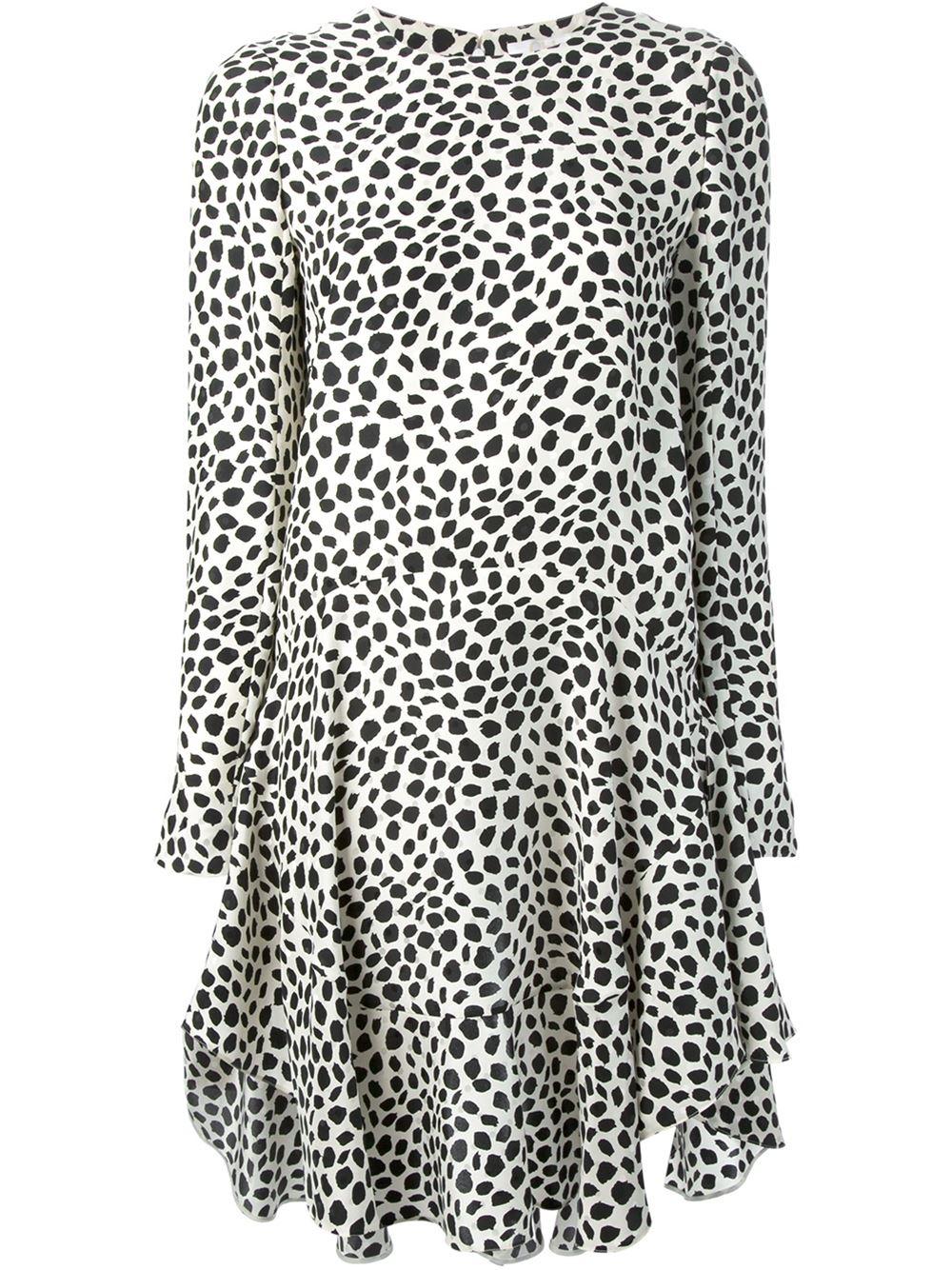 Lyst Chlo 233 Dalmatian Print Dress In Black