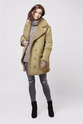 Topshop Real Shearling Car Coat in Green | Lyst