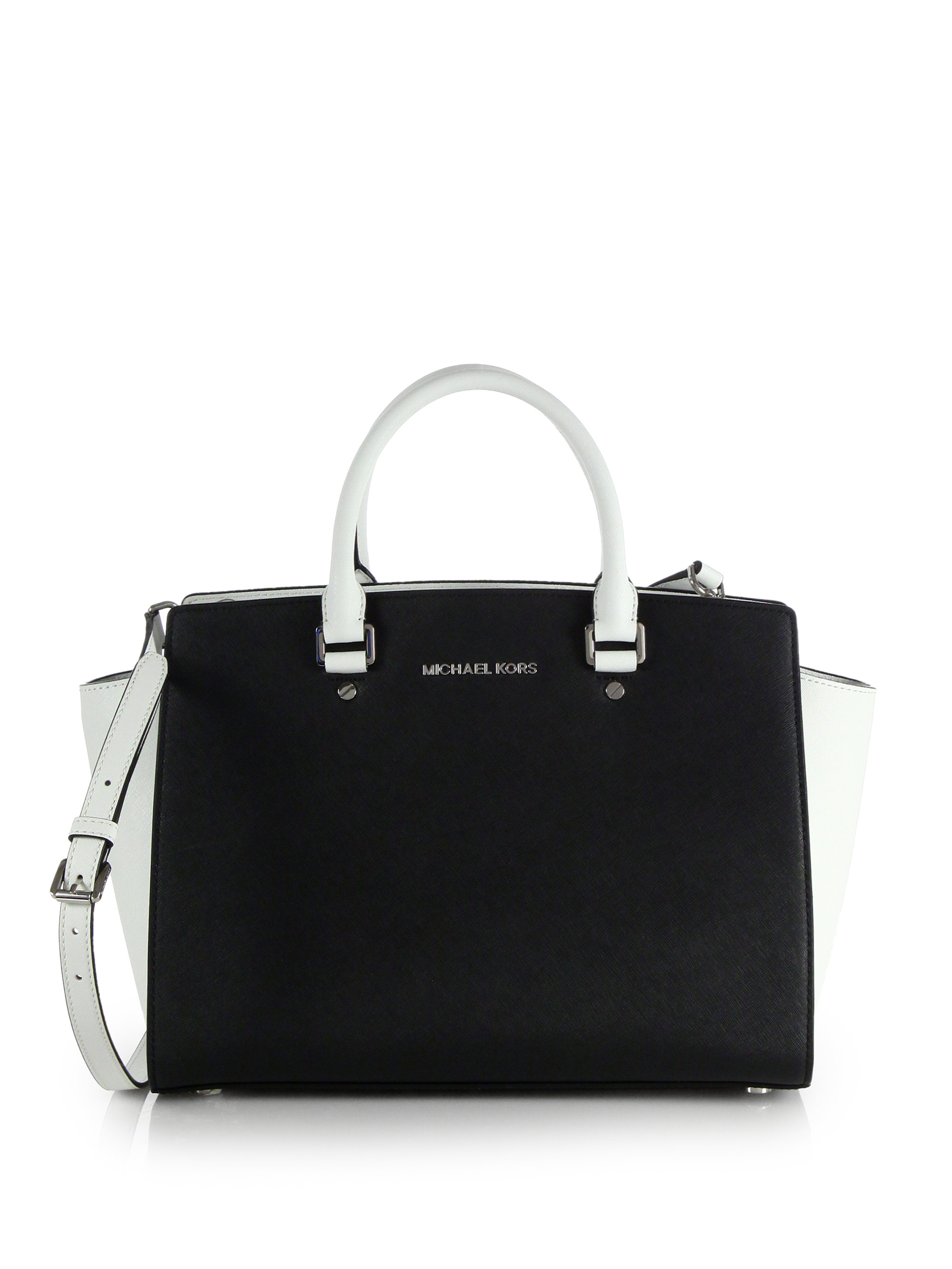 michael michael kors selma large twotone satchel in black black white lyst. Black Bedroom Furniture Sets. Home Design Ideas