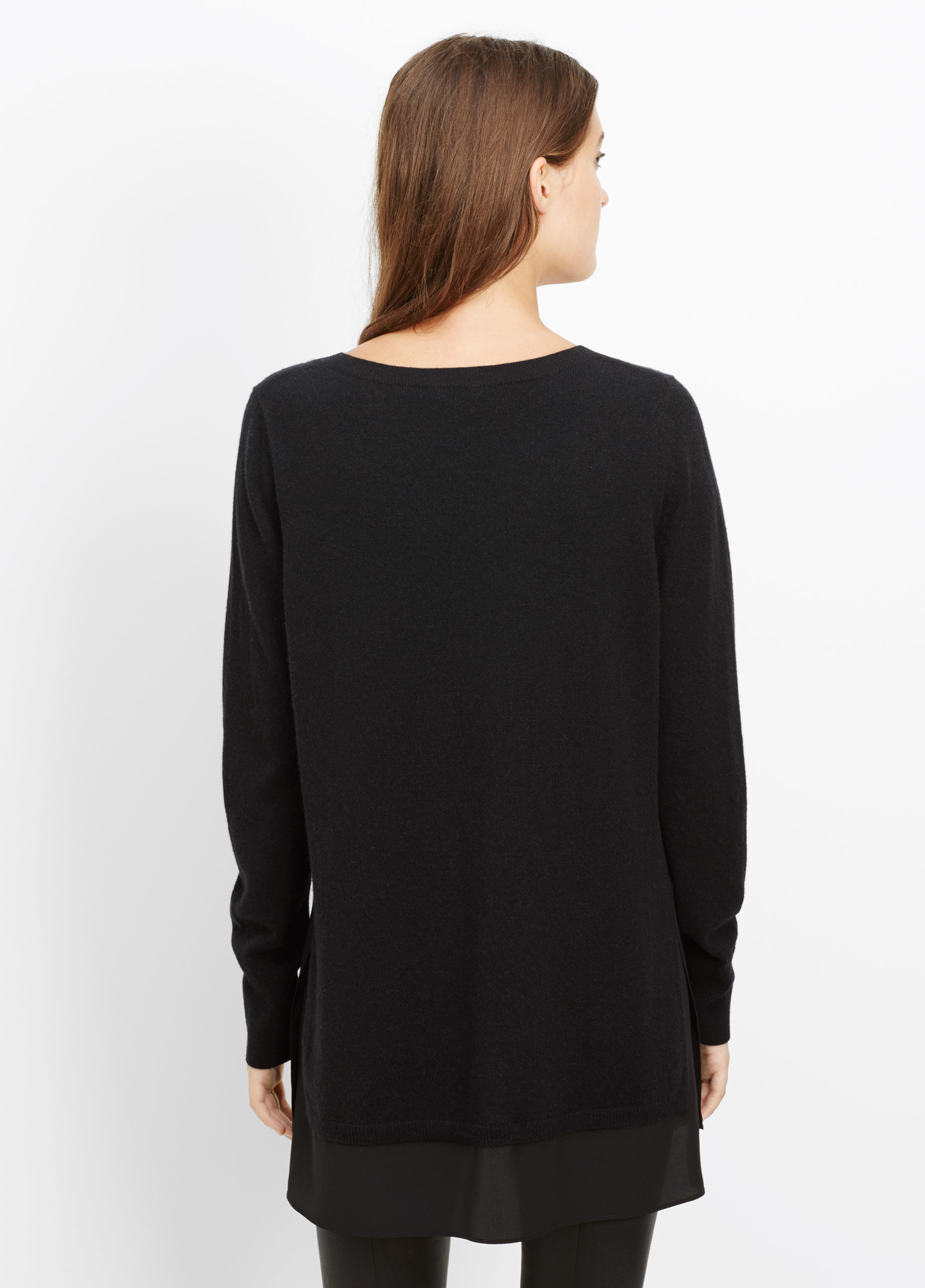 8d00e754ee8 Vince Wool Cashmere V-neck Sweater With Silk Contrast in Black - Lyst