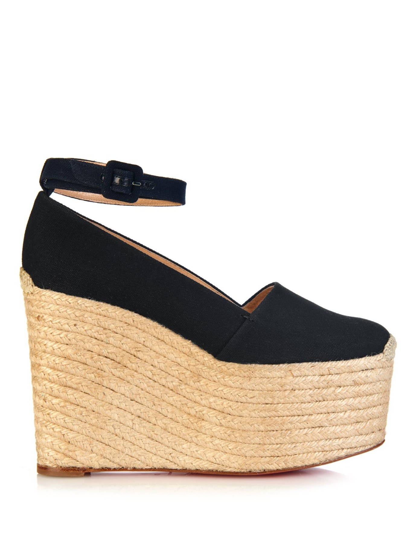 studded louboutins - Christian louboutin Dehia Canvas Wedge Espadrilles in Black | Lyst
