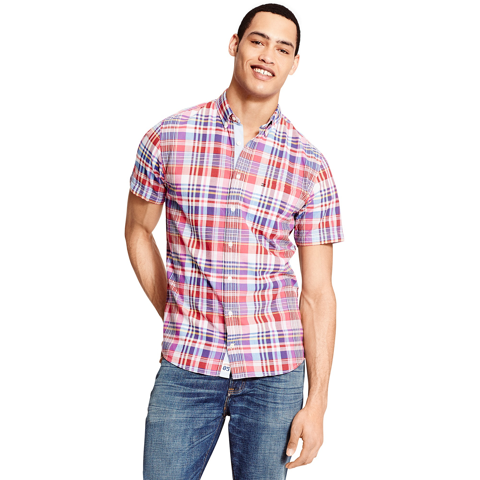 Tommy Hilfiger New York Fit Short Sleeve Shirt In Blue For
