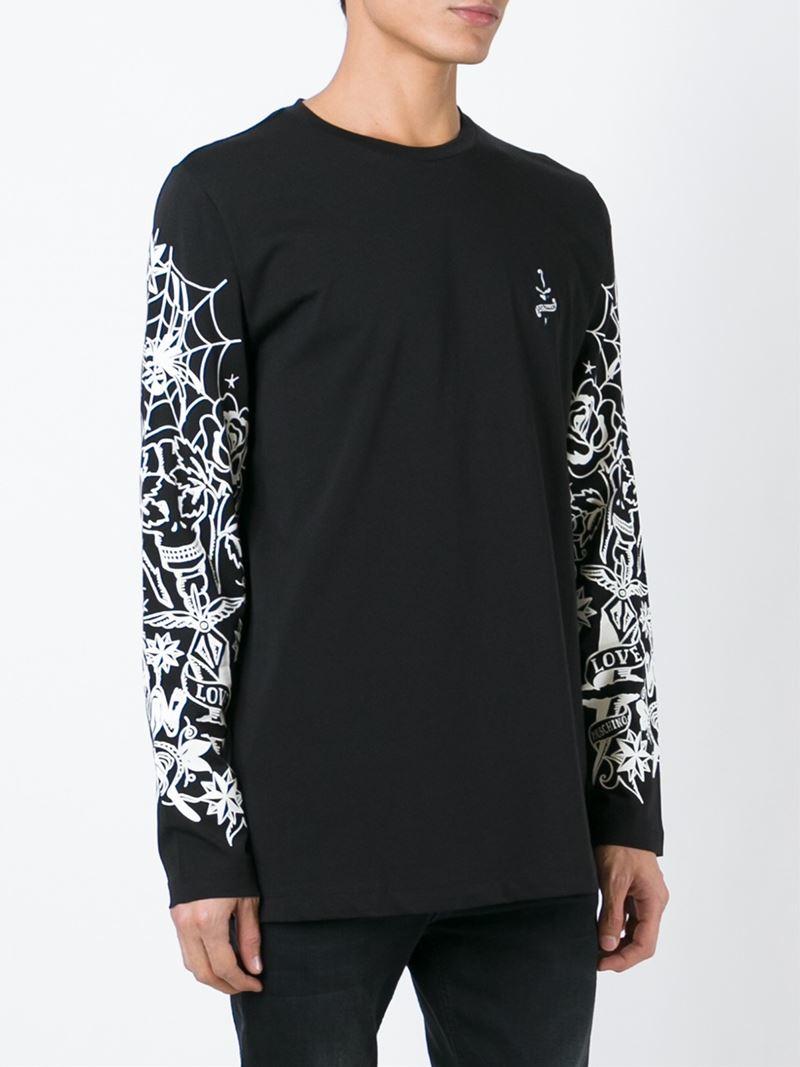 Lyst love moschino printed long sleeve t shirt in white for Long sleeve t shirt printing