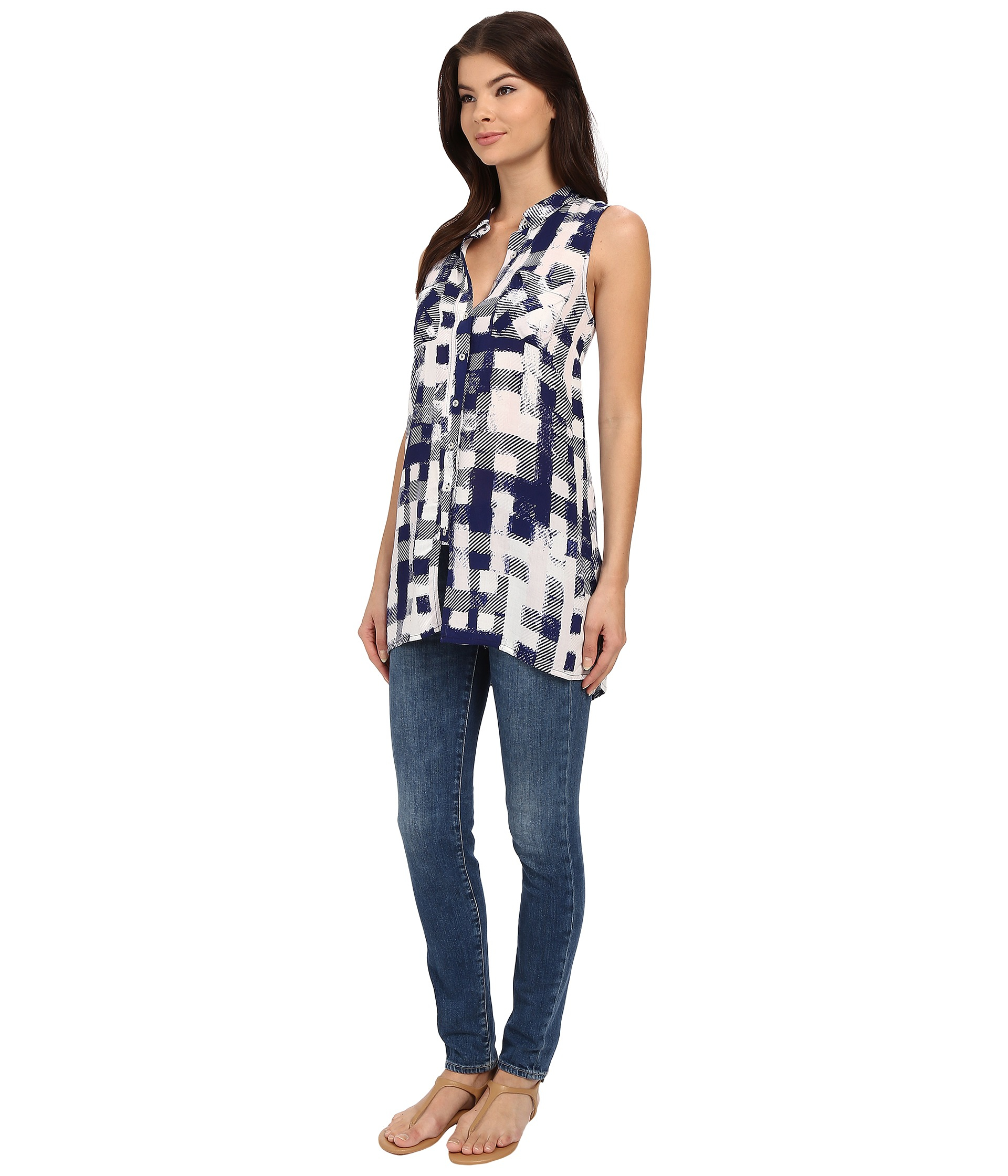 e58a1d6c03afe Lyst - Brigitte Bailey Berry Plaid Tunic in Black