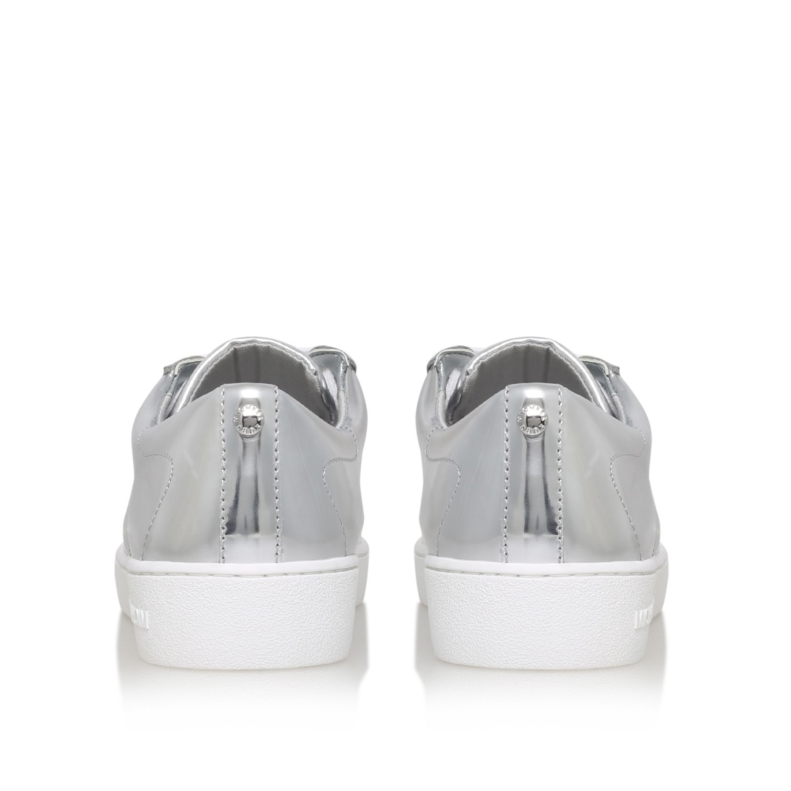 Michael Kors Synthetic Toby Lace Up Flat Sneakers in Silver (Metallic)