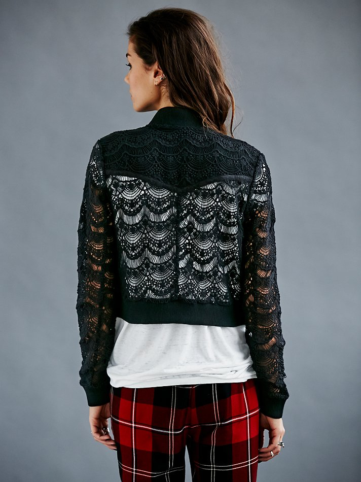 Free People Womens Lace Bomber Jacket In Black Lyst