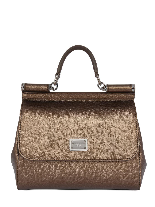 0b88637095d3 Lyst - Dolce   Gabbana Medium Sicily Lamé Dauphine Leather Bag in ...