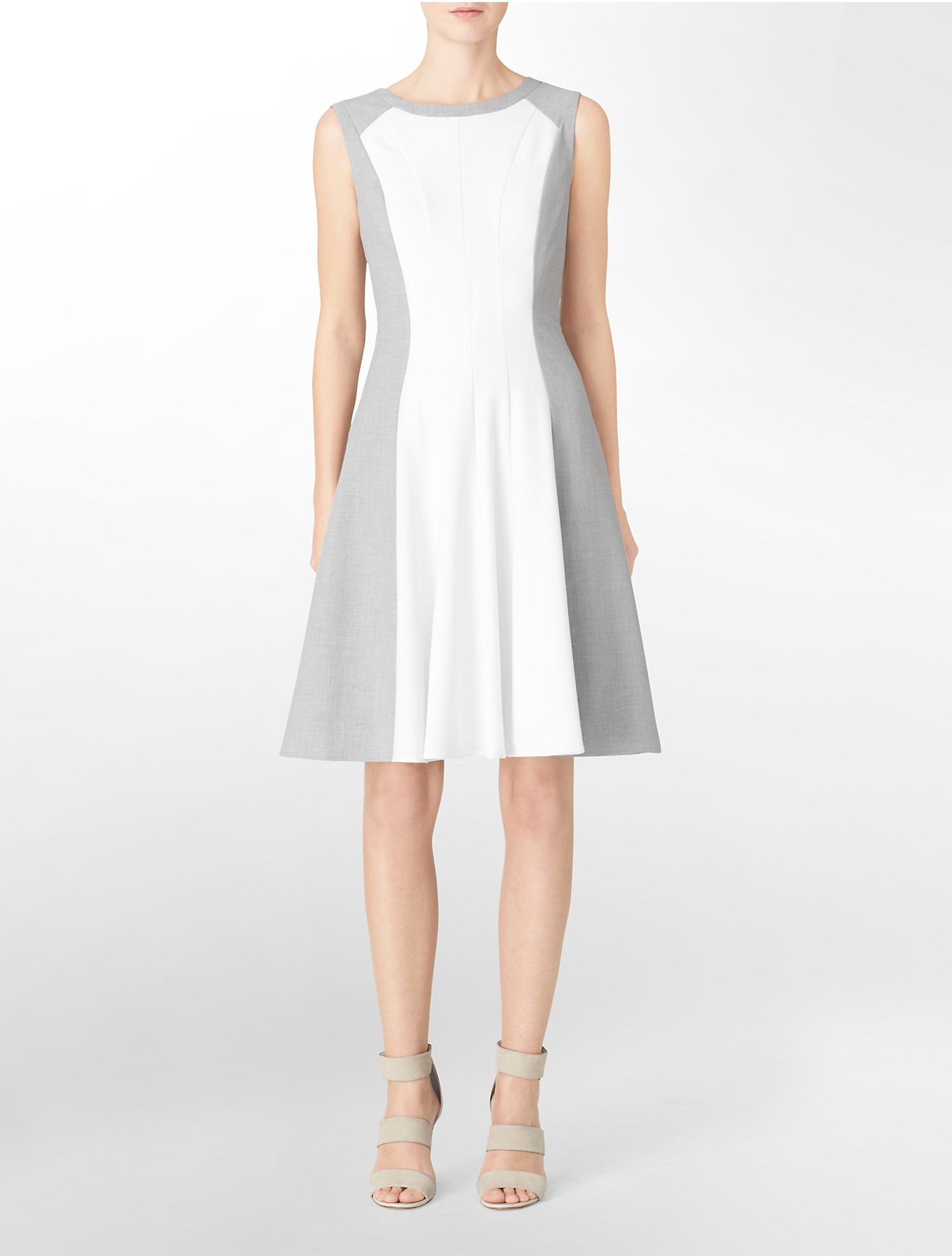 Calvin Klein White Label Colorblock Fit Flare Sleeveless