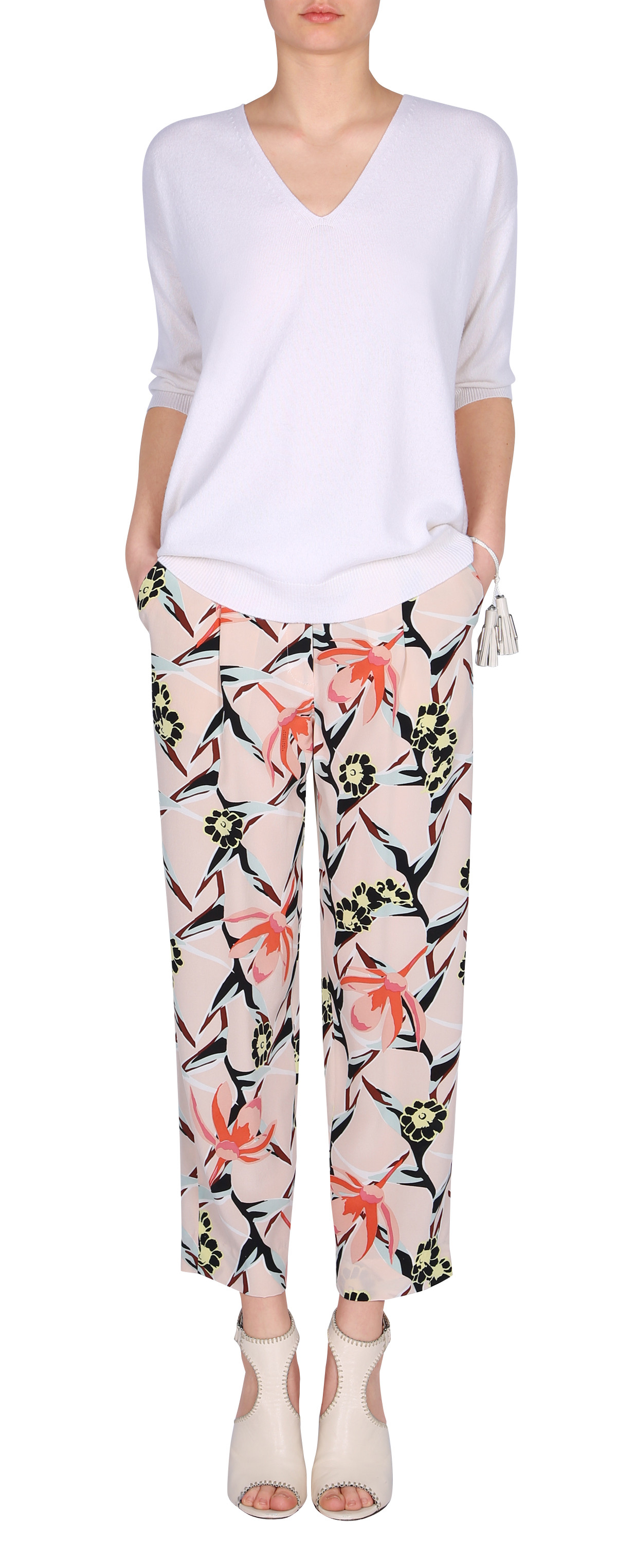 lyst dorothee schumacher floral print trousers. Black Bedroom Furniture Sets. Home Design Ideas