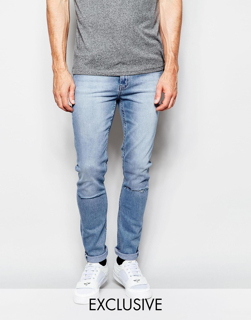 Cheap monday Jeans Tight Skinny Fit Stonewash Blue Ripped Knee in ...