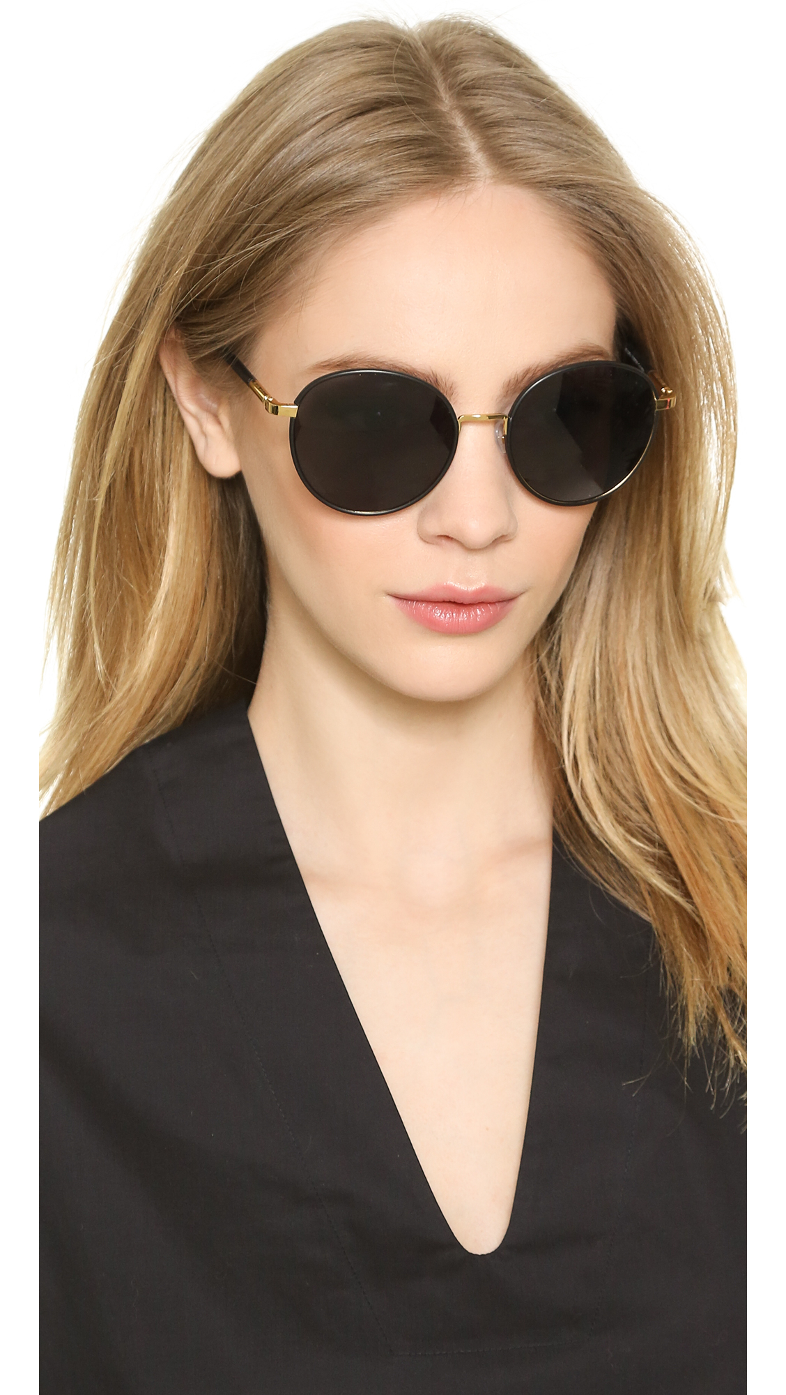 The Row Sunglasses Goldgrey Round Black mN0wn8