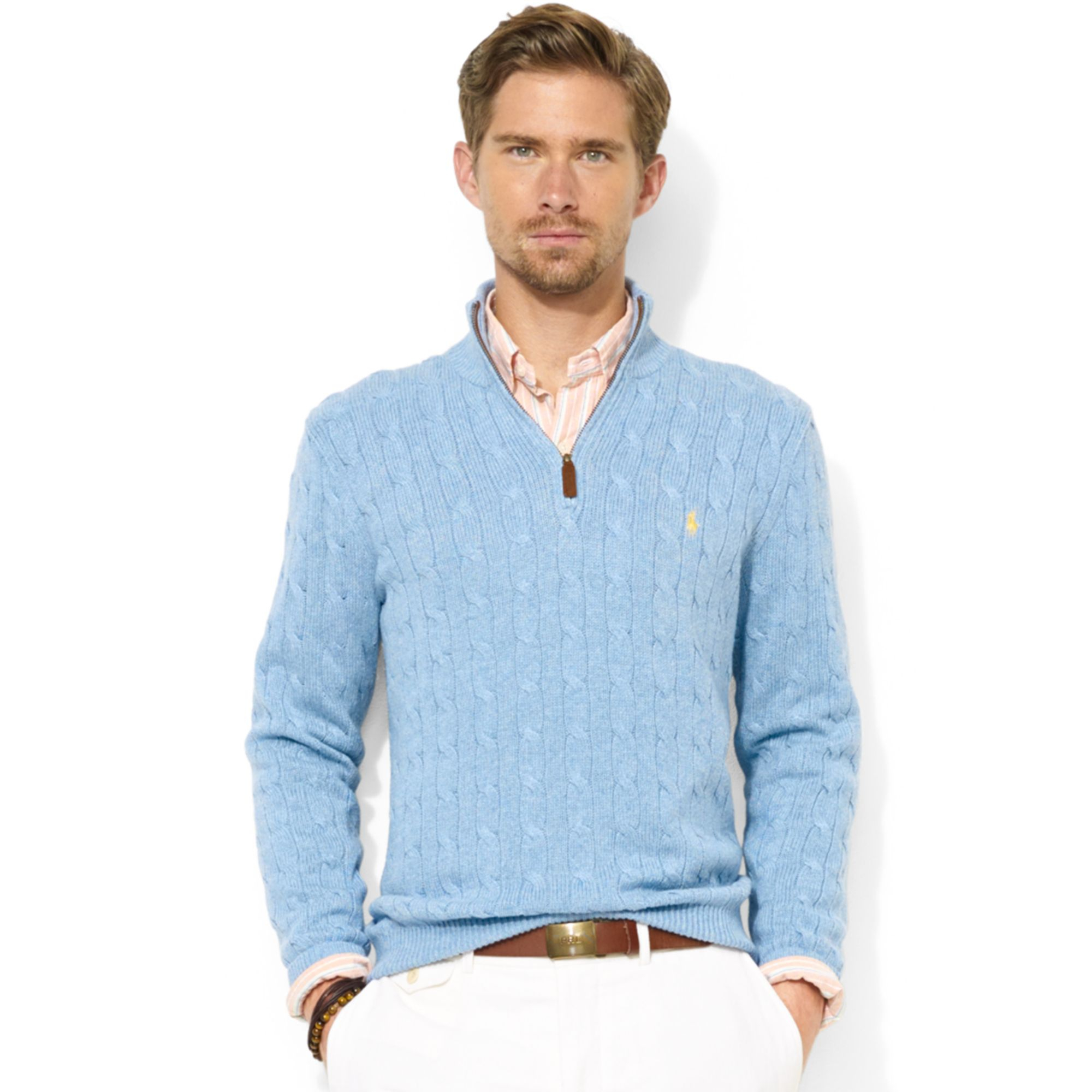Ralph lauren Halfzip Cable Knit Tussah Silk Sweater in Blue for ...
