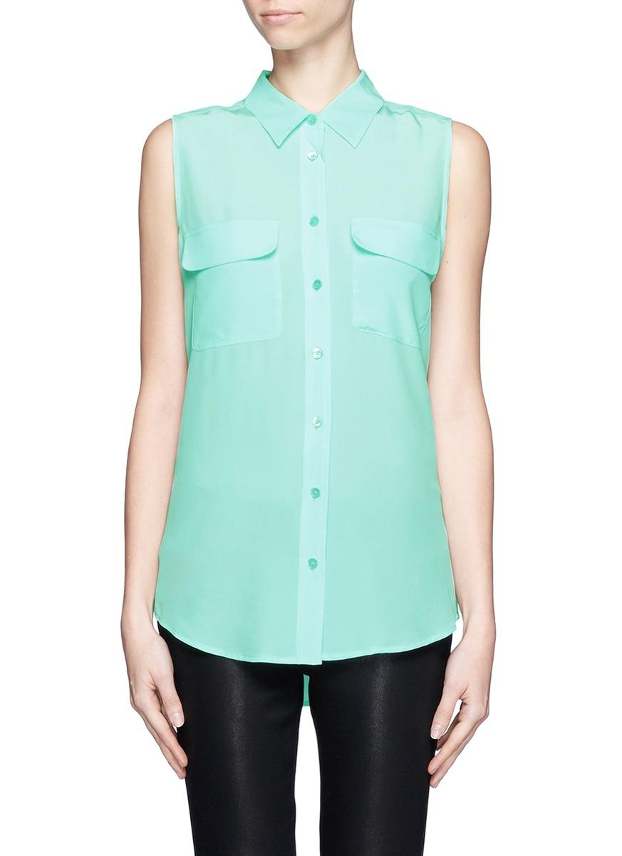 Equipment signature sleeveless silk shirt in blue lyst for Equipment signature silk shirt