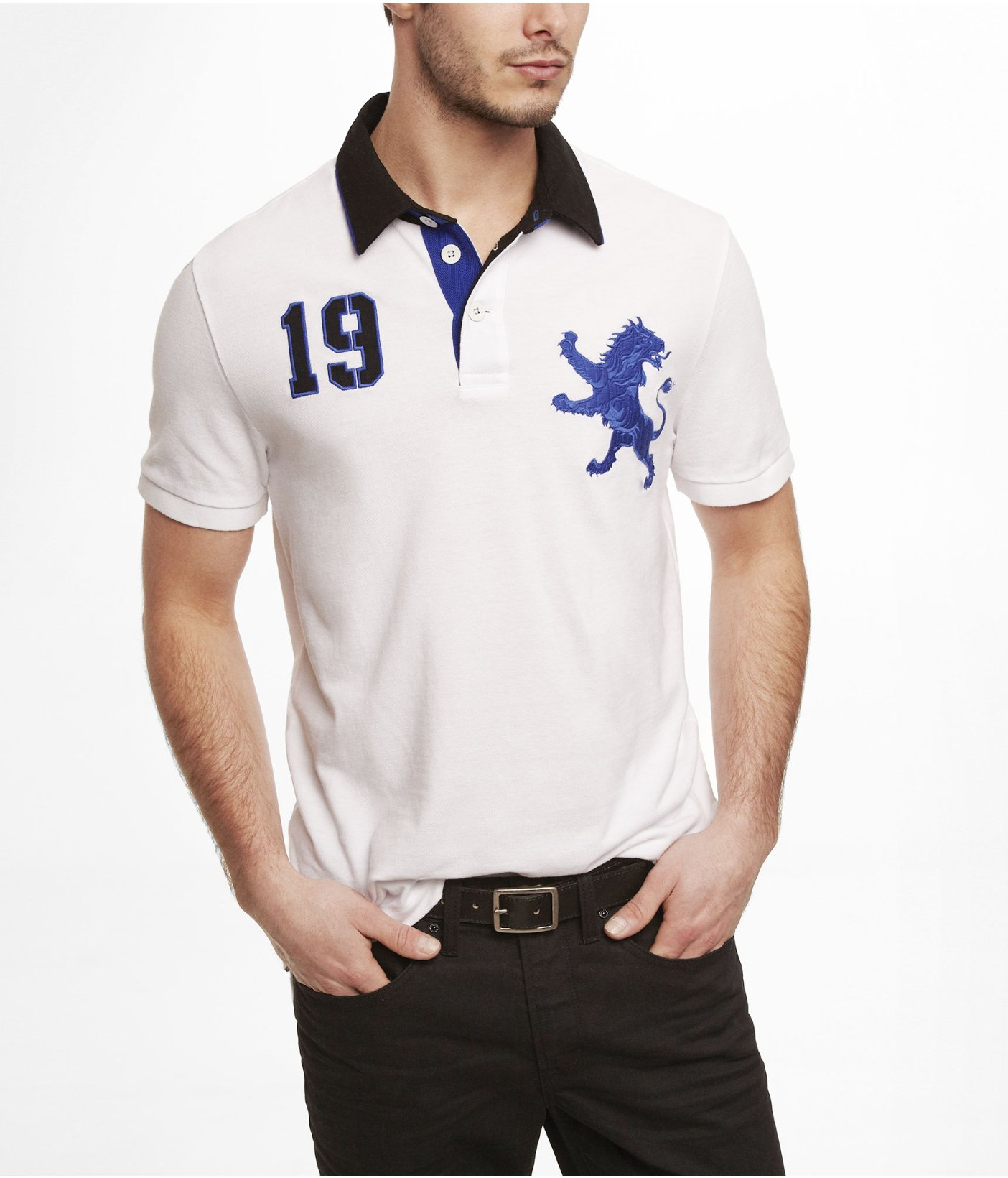 Lyst Express Woven Collar Extra Large Lion Pique Polo In