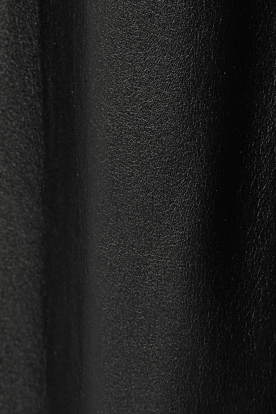 lyst dkny faux leather wideleg pants in black