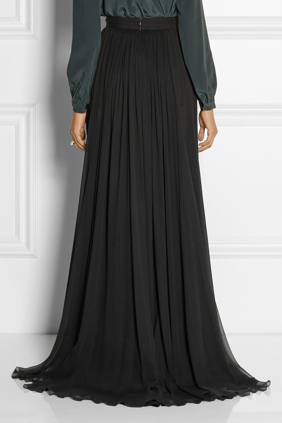 elie saab pleated silk chiffon maxi skirt in black lyst