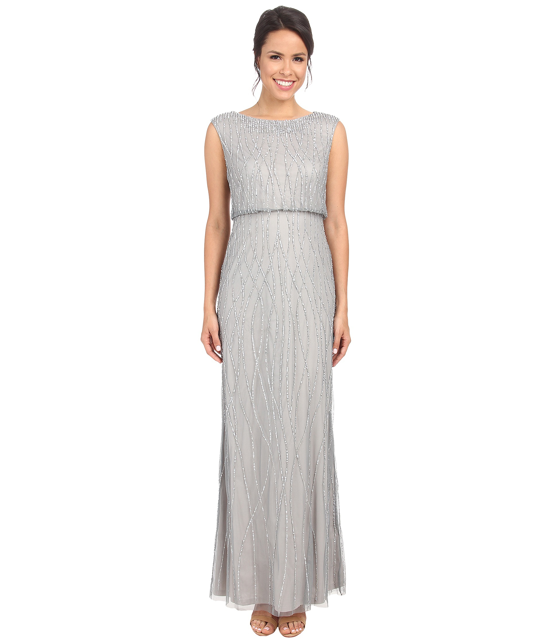Montañas climáticas ajo Frente a ti  Adrianna Papell Synthetic Deco Vine Beaded Gown in Slate (Gray) - Lyst