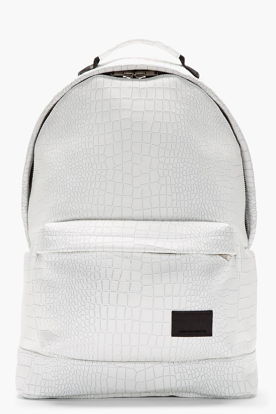 Lyst Kris Van Assche White Etched Croc Pattern Backpack
